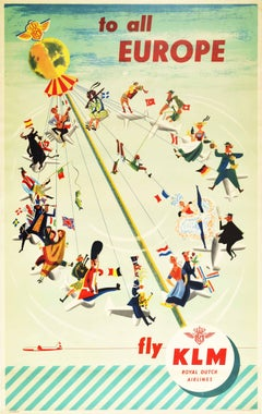 Original Vintage Airline Travel Poster To All Europe Fly KLM Carousel Swing Art
