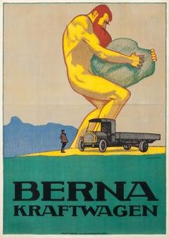 """Berna Kraftwagen"" Original Vintage Truck Poster"