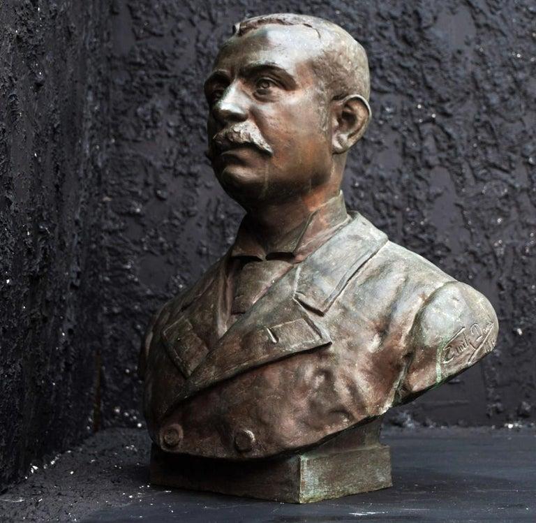 Renaissance Emile Daviol Signed Bronze Bust For Sale