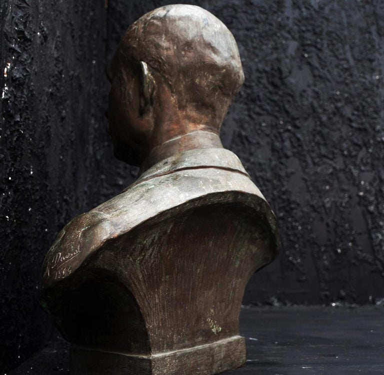 Hand-Crafted Emile Daviol Signed Bronze Bust For Sale
