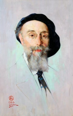 Portrait of an Artist - Impressionist Oil, Gentleman by Emile Deckers