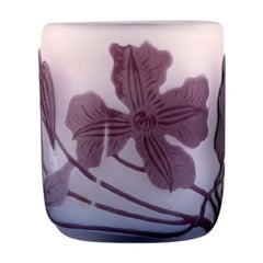 Emile Gallé Art Glass Vase Decorated with Purple Flowers, circa 1910