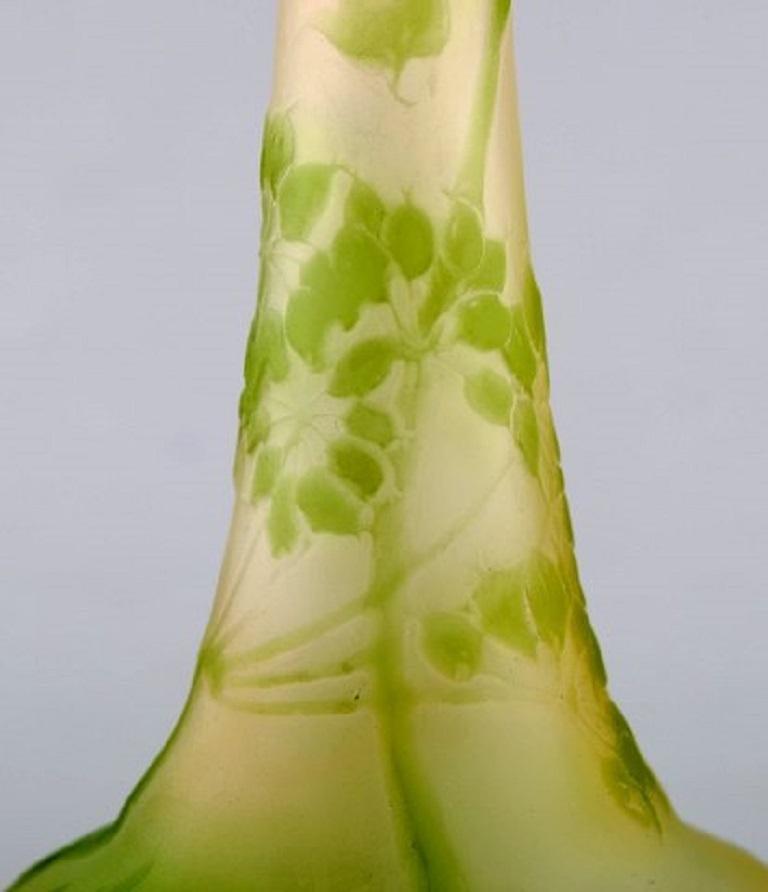 Emile Gallé Art Glass Vase with Narrow Neck, circa 1910s In Excellent Condition For Sale In Copenhagen, Denmark