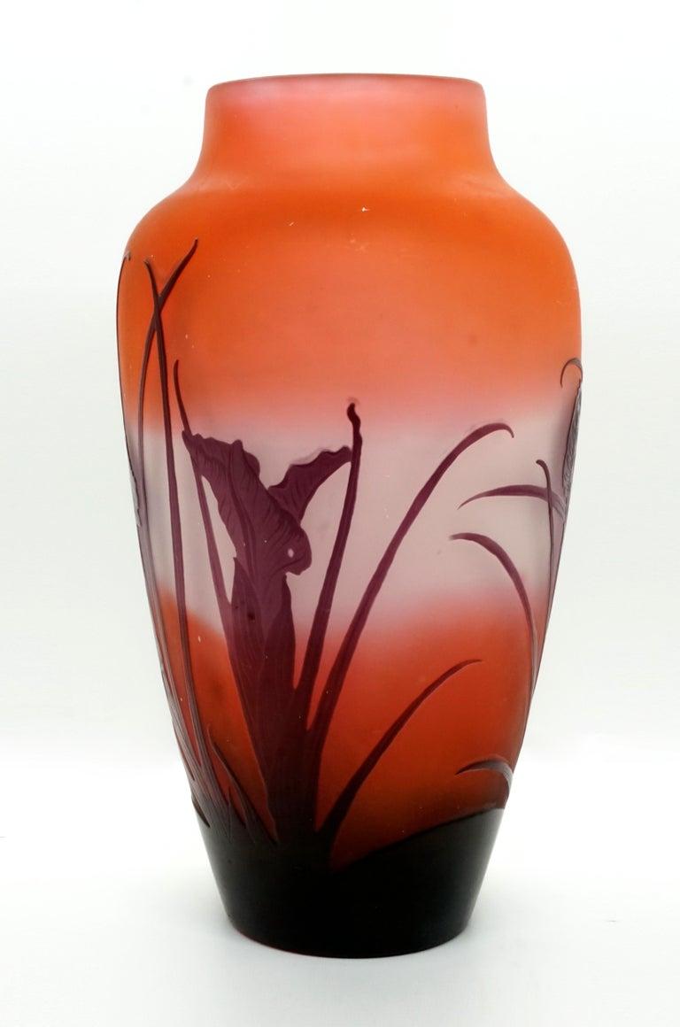 Etched Émile Gallé Art Nouveau Vase with Iris Decor, France, 1920-1925