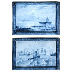 Emile Gallé Blue Faience 1880-1890 Marine Landscape Ceramic Tiles, Set of 2