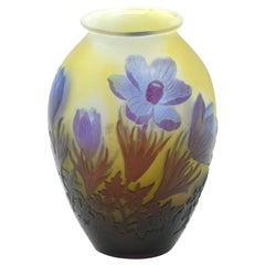 Emile Galle Cameo Glass Vase Floral Decoration, France