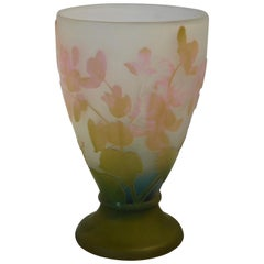 Emile Galle Cameo Glass Vase in Olive Green, Pink, Blue and Frost, circa 1897
