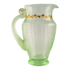 Emile Gallé, Early and Rare Jug in Mouth-Blown Light Green Art Glass