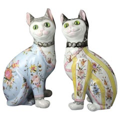 Emile Galle Faience Pottery Comical Cats, circa 1900