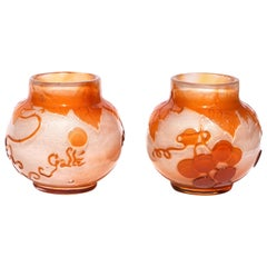 Emile Gallé Fire Polished Cameo Cabinet Vases
