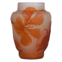 Emile Galle Floral Art Nouveau Cabinet Vase