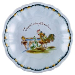 Emile Gallé for St. Clement, Nancy, Antique Compote in Hand Painted Faience