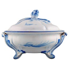 Emile Gallé for St. Clement, Nancy. Antique Lidded Bowl on Feet, 1870s-1880s