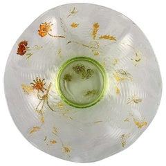 Emile Gallé, France, Antique Bowl in Mouth-Blown Art Glass, 1870s-1880s