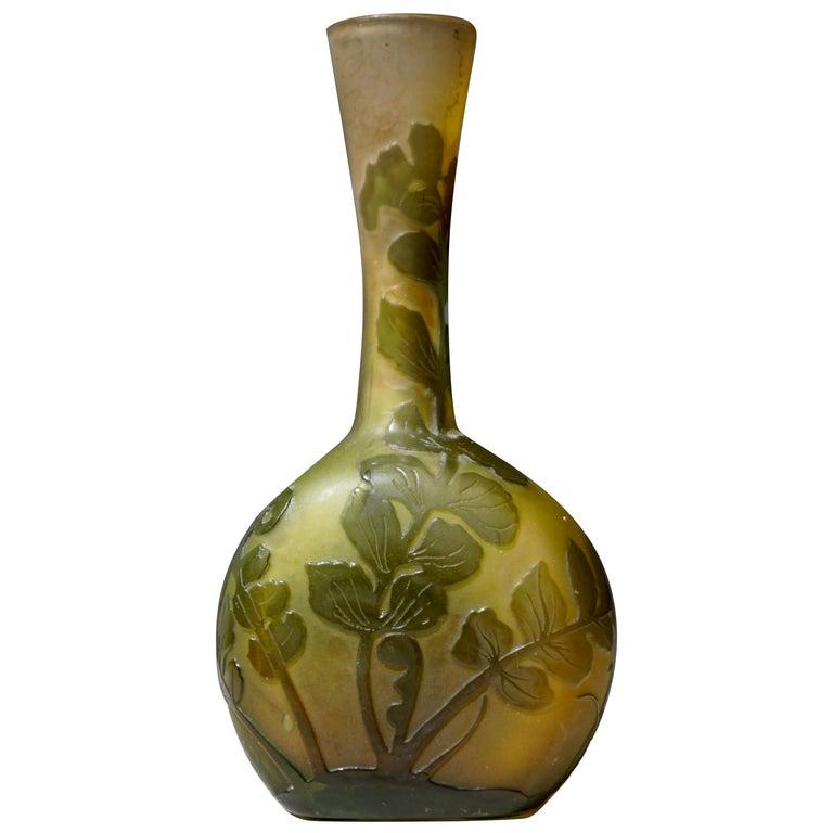 Emile Gallé French Art Nouveau Cameo Glass Vase For Sale