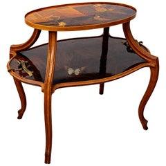 Émile Gallé Intarsien Dragonfly übernimmt Tisch mit Perlmutt, um 1900