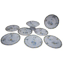 Emile Galle, Nancy Set of Seven Dishes and One Serving Dish in Blues and Gold