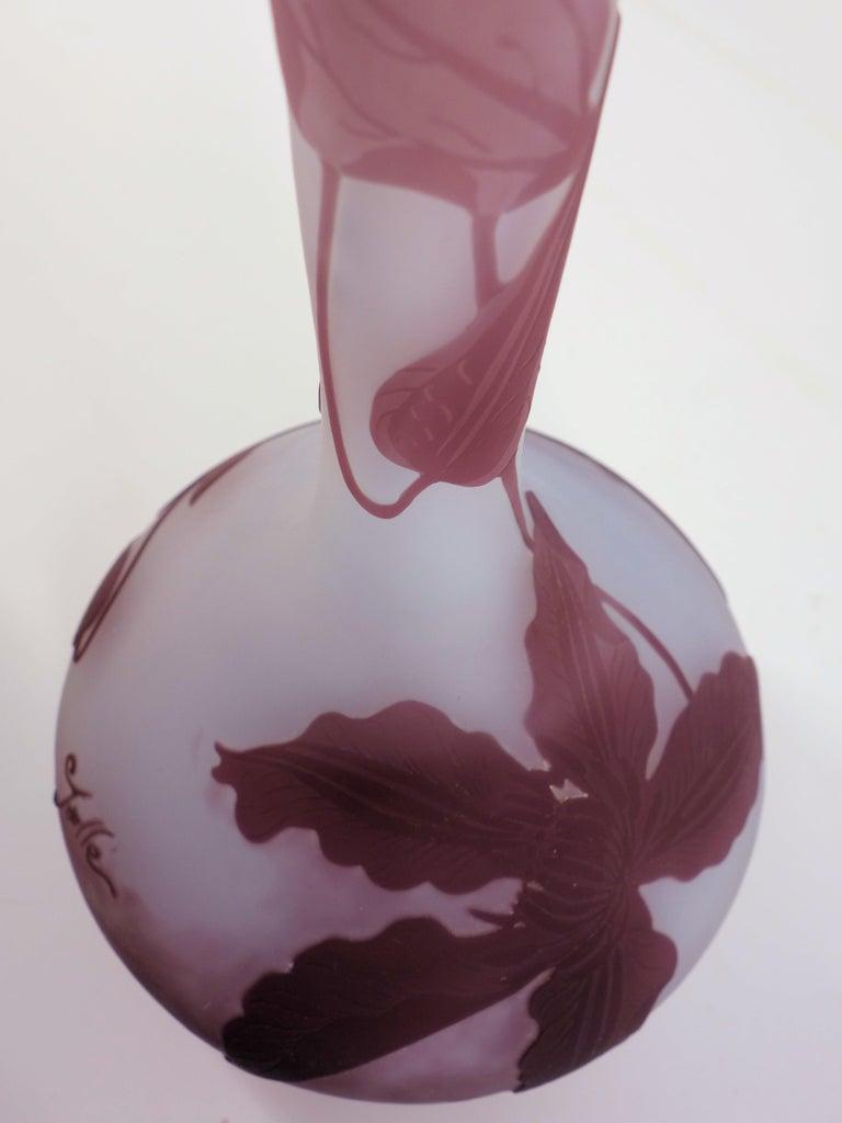 Art Nouveau French Cameo Glass 'Daffodil Vase' by Emile Gallé, Nancy - 30 cm For Sale 7
