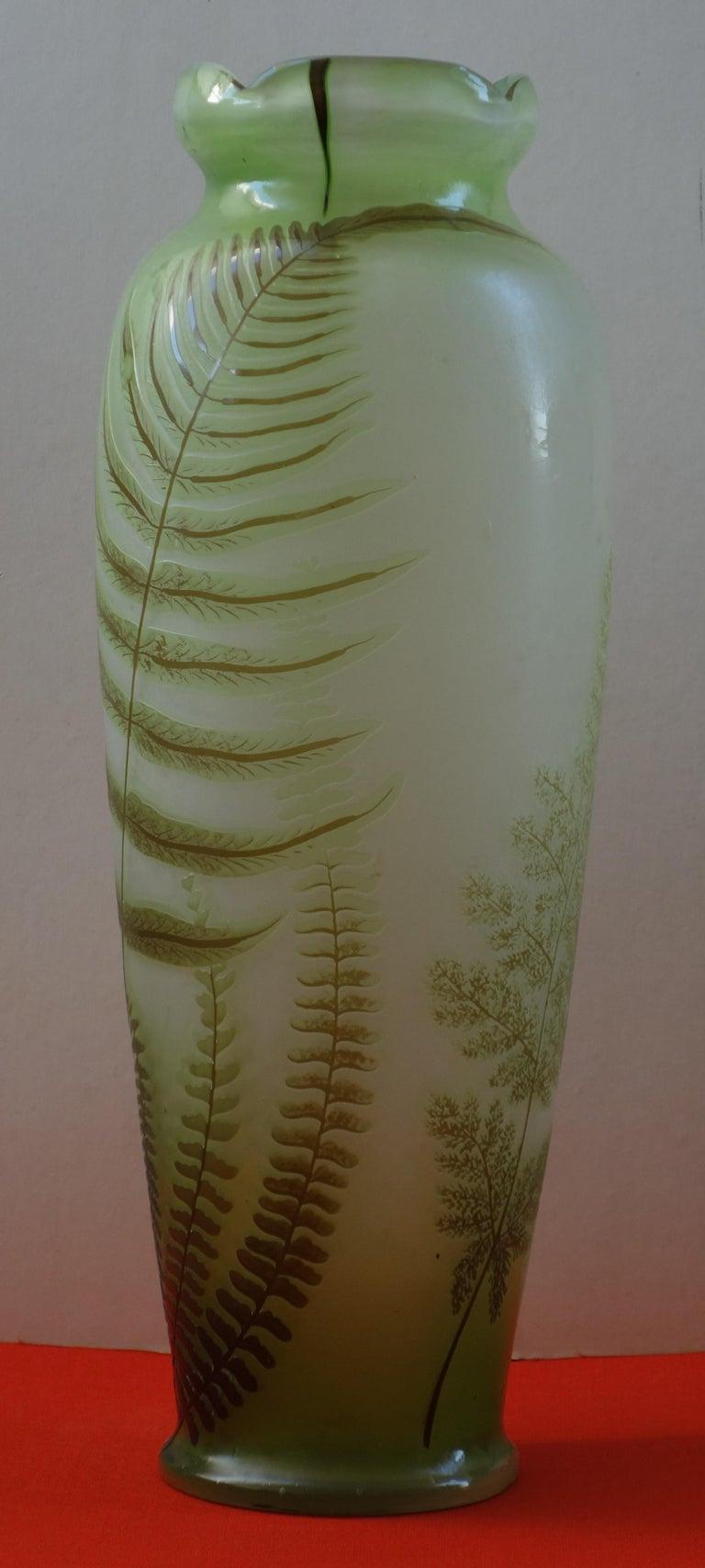 Art Nouveau French Cameo Glass 'Fern Vase' by Emile Gallé, Nancy - 42cm High For Sale 3