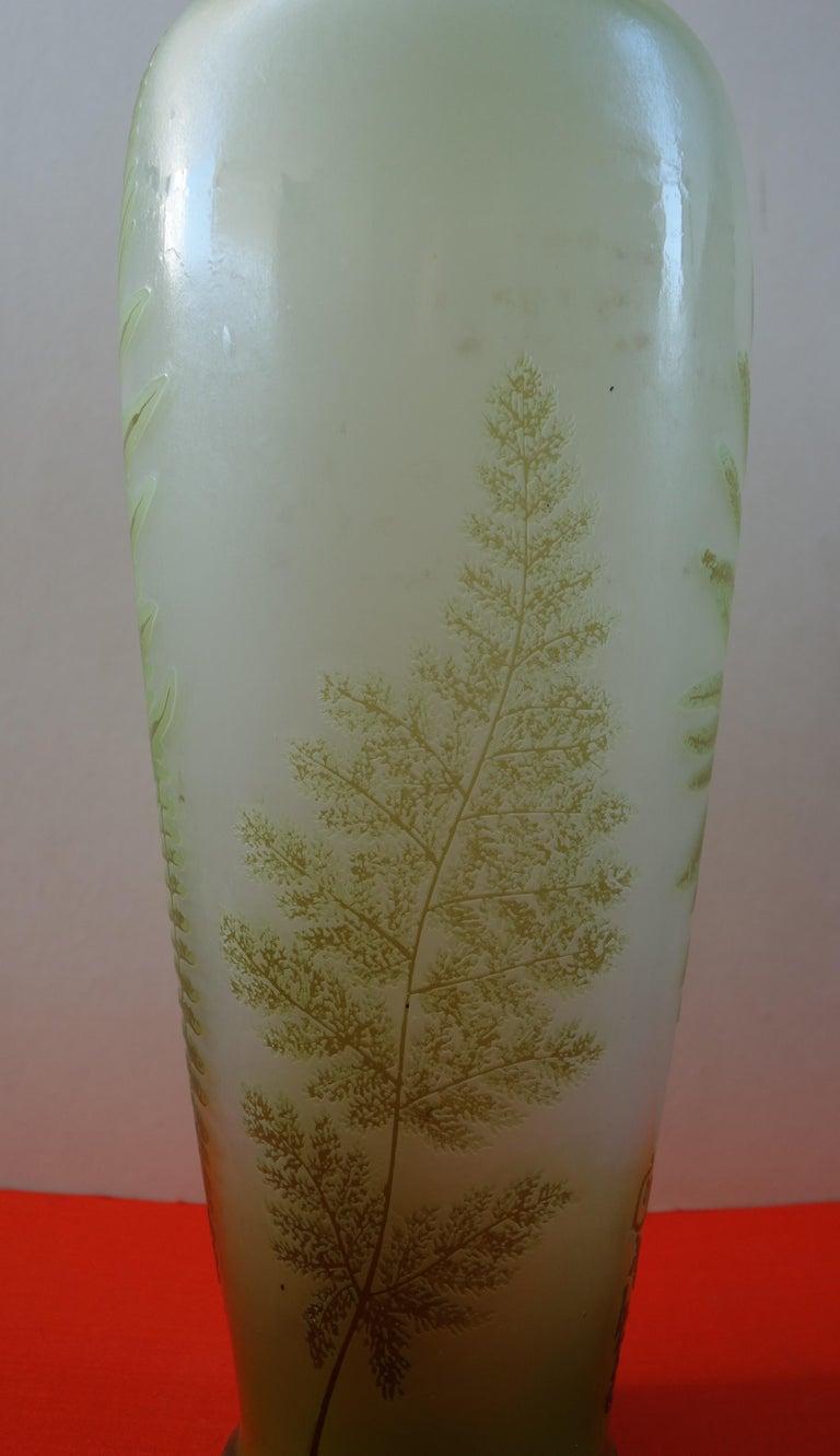 Art Nouveau French Cameo Glass 'Fern Vase' by Emile Gallé, Nancy - 42cm High For Sale 4