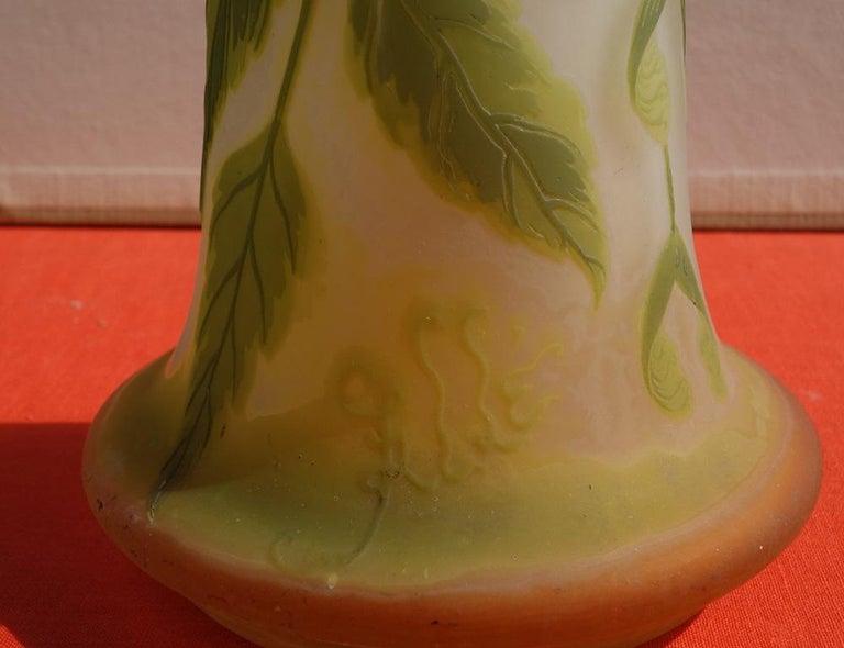 Art Nouveau French Cameo Glass 'Maple Vase' by Emile Gallé, Nancy - 45cm For Sale 1