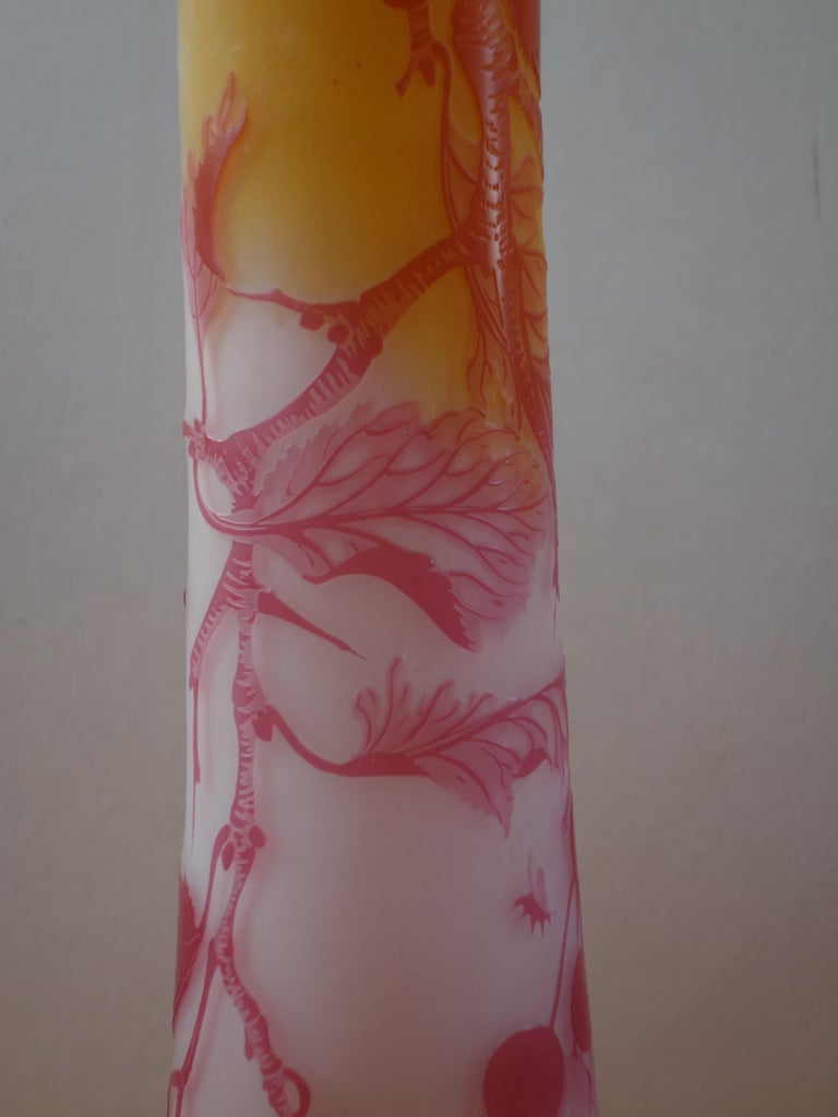 Art Nouveau French Cameo Glass 'Red Berries Vase' by Emile Gallé, Nancy - 45cm For Sale 5