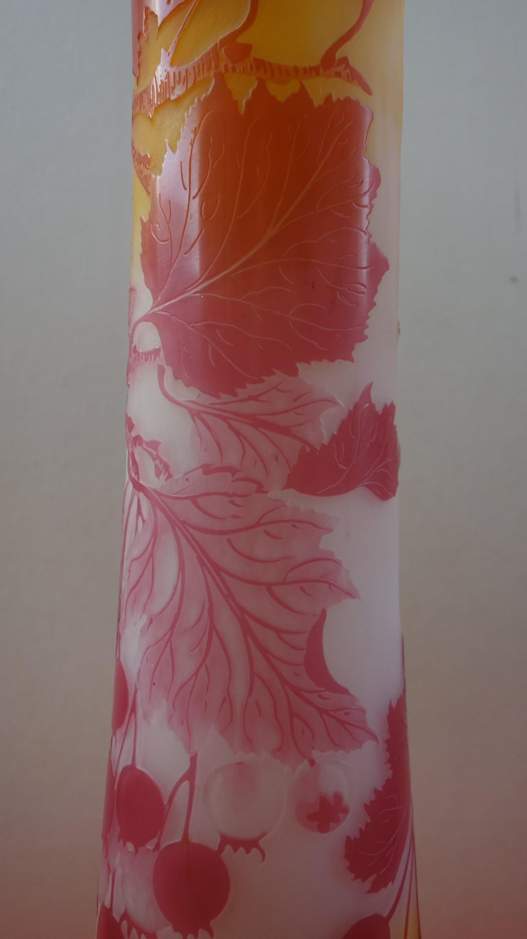 Art Nouveau French Cameo Glass 'Red Berries Vase' by Emile Gallé, Nancy - 45cm For Sale 7