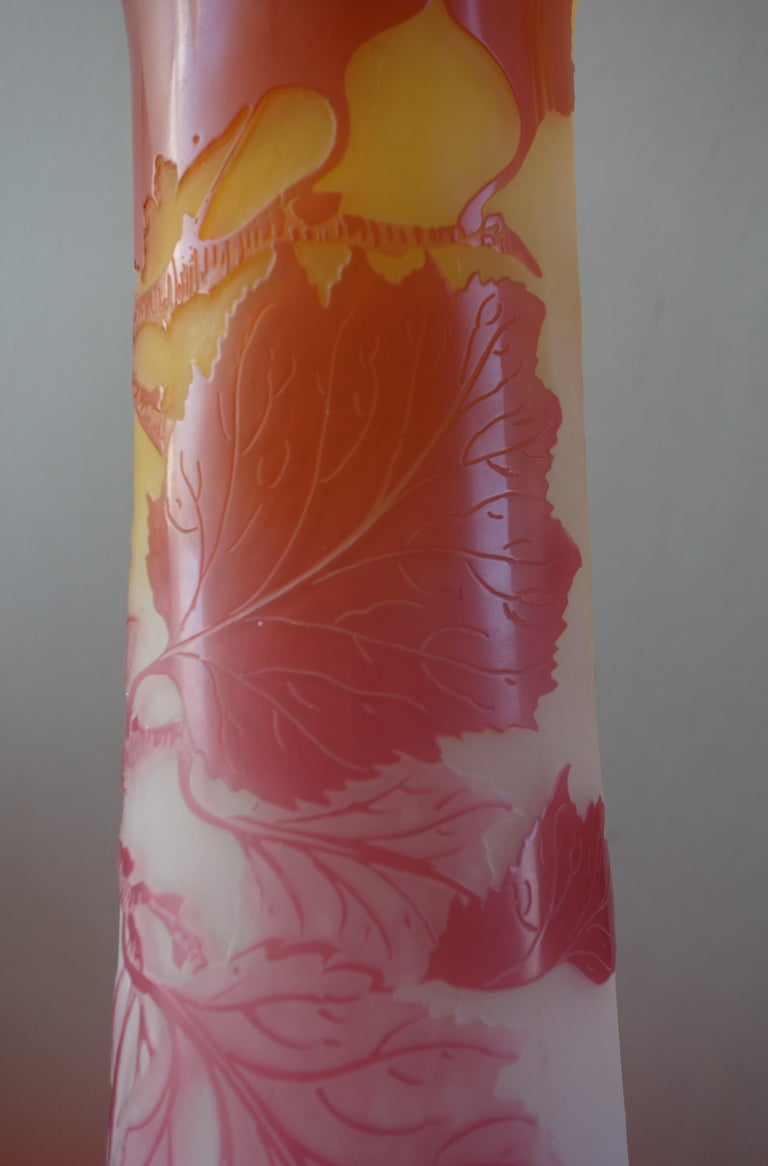 Art Nouveau French Cameo Glass 'Red Berries Vase' by Emile Gallé, Nancy - 45cm For Sale 8