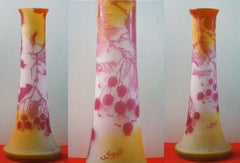 Art Nouveau French Cameo Glass 'Red Berries Vase' by Emile Gallé, Nancy - 45cm