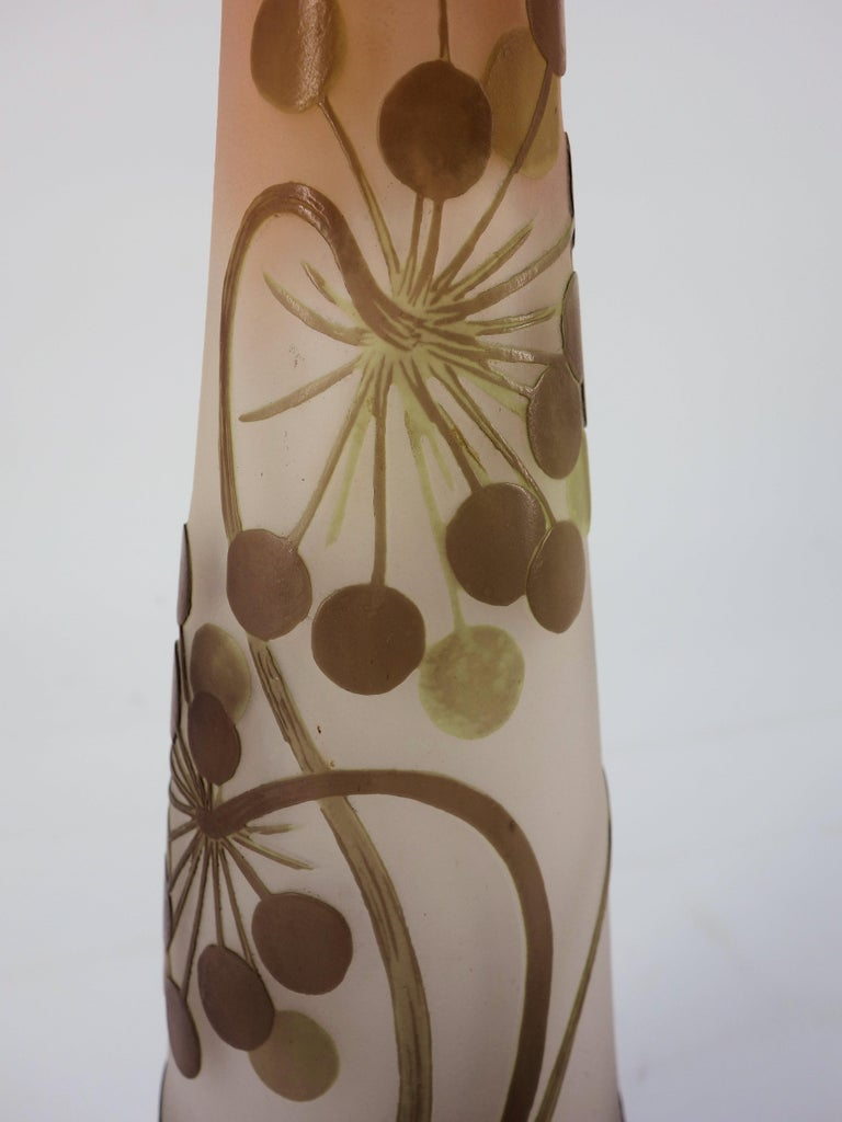 Art Nouveau French Cameo Glass 'Umbels Vase' by Emile Gallé, Nancy - 40 cm For Sale 10