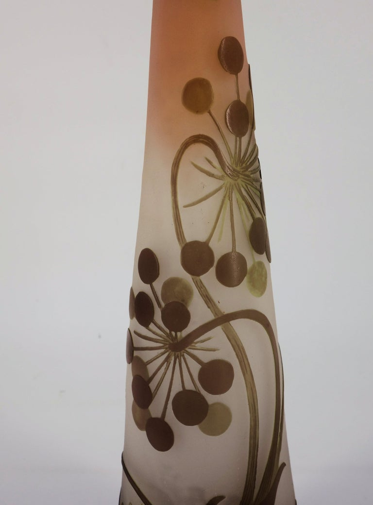 Art Nouveau French Cameo Glass 'Umbels Vase' by Emile Gallé, Nancy - 40 cm For Sale 2