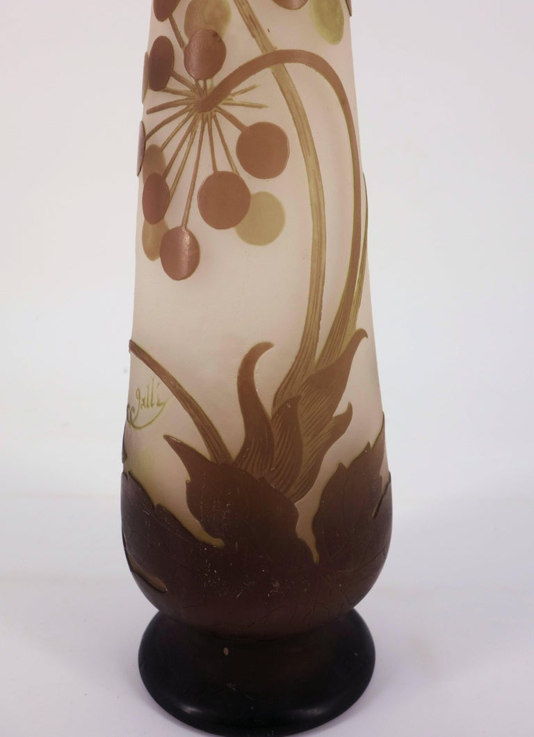 Art Nouveau French Cameo Glass 'Umbels Vase' by Emile Gallé, Nancy - 40 cm For Sale 5