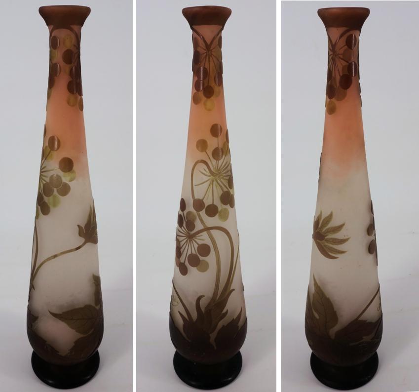 Art Nouveau French Cameo Glass 'Umbels Vase' by Emile Gallé, Nancy - 40 cm