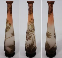 Art Nouveau French Cameo Glass 'Umbels Vase' by Emile Gallé, Nancy - 40 cm