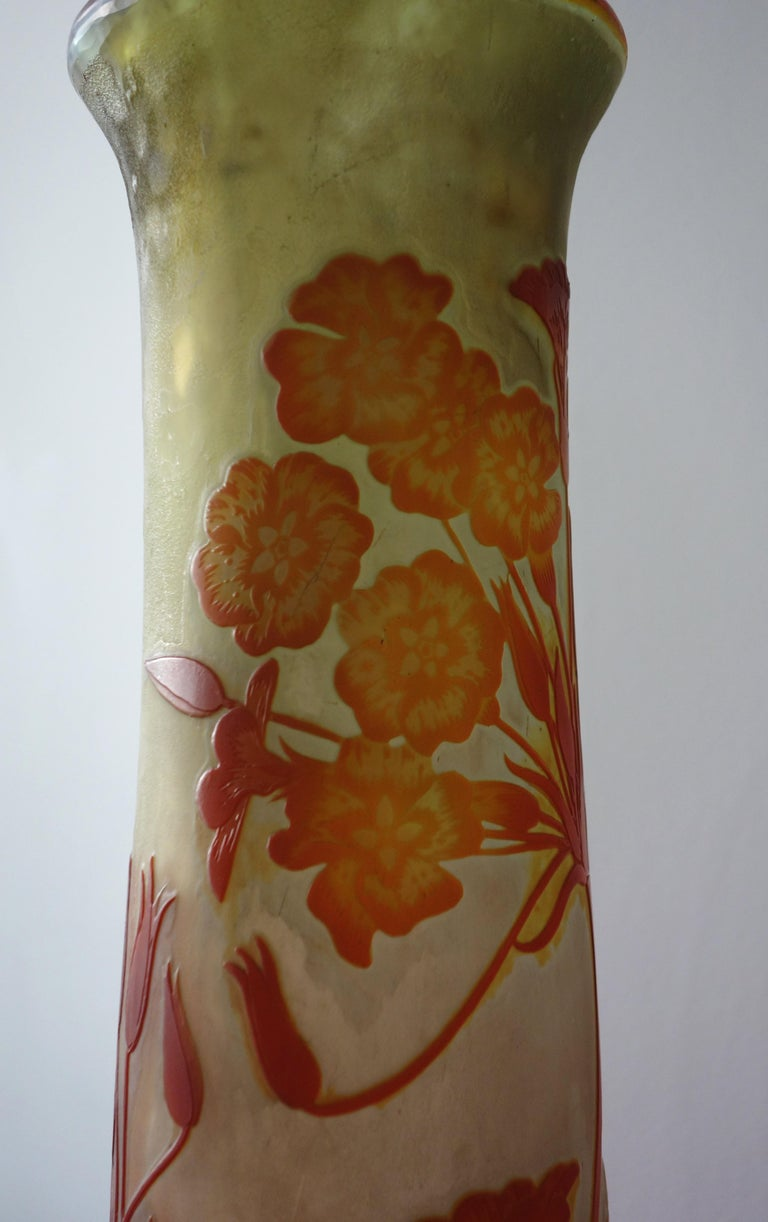 Art Nouveau French Cameo Glass 'Umbels Vase' by Emile Gallé, Nancy - 63cm High For Sale 9