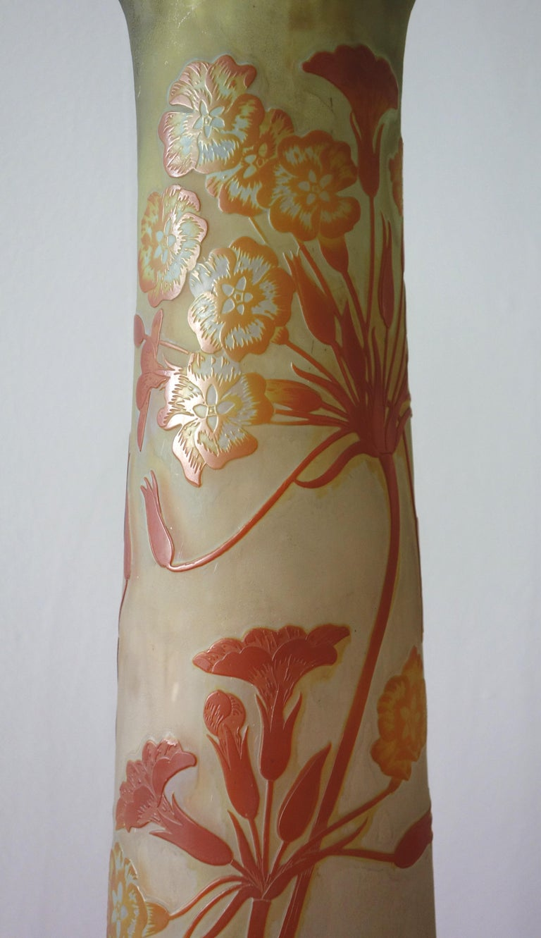 Art Nouveau French Cameo Glass 'Umbels Vase' by Emile Gallé, Nancy - 63cm High For Sale 7
