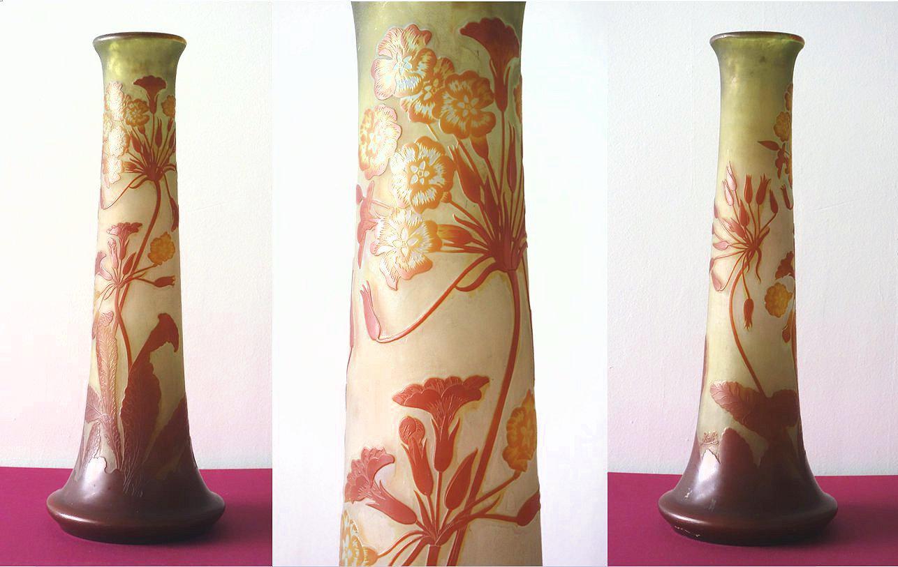 Art Nouveau French Cameo Glass 'Umbels Vase' by Emile Gallé, Nancy - 63cm High