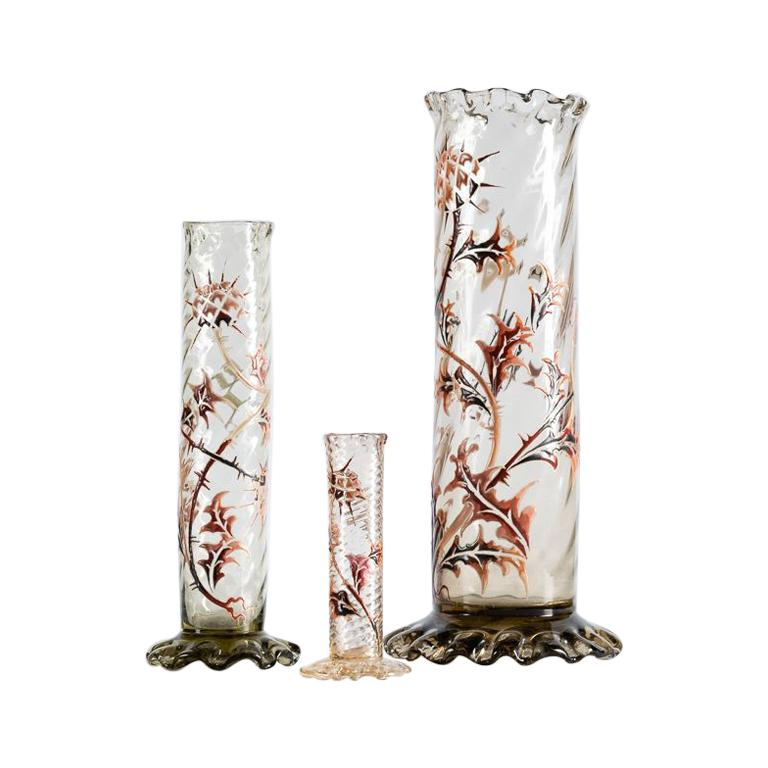 Émile Gallé, Set of Three Vases, France, Early 20th Century For Sale