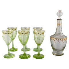 Emile Gallé, Six Early and Rare Wine Glasses and Carafe in Art Glass
