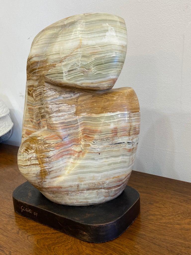 Hand-Carved Emile Gilioli Agate Sculpture For Sale