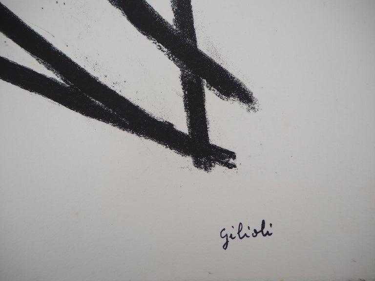 Broken Lines - Original Lithograph, Handsigned - Print by Émile Gilioli