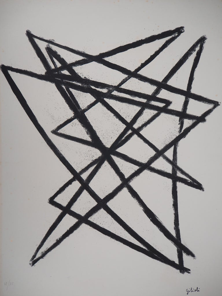 Broken Lines - Original Lithograph, Handsigned - Abstract Geometric Print by Émile Gilioli
