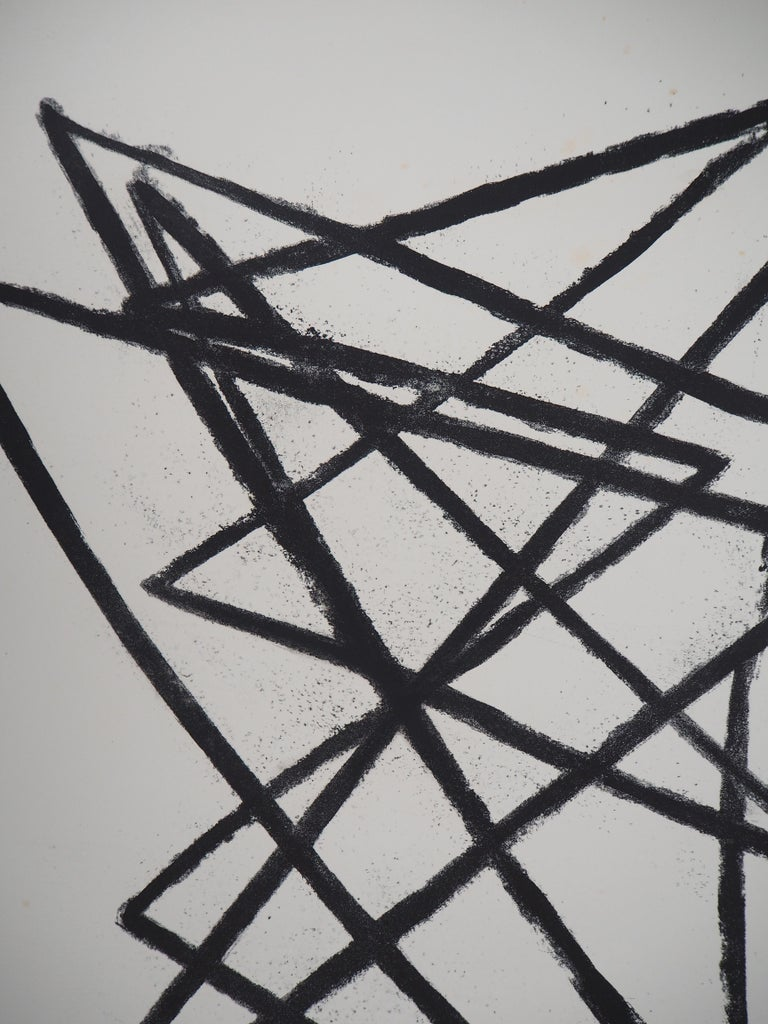 Broken Lines - Original Lithograph, Handsigned - Gray Abstract Print by Émile Gilioli