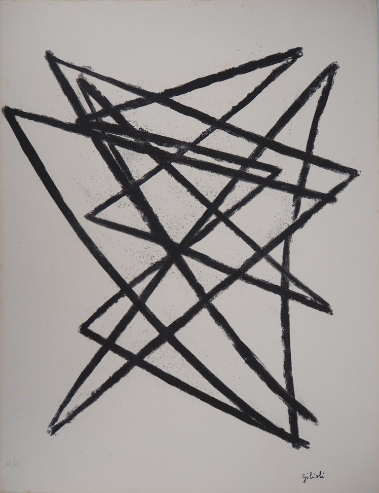 Émile Gilioli Abstract Print - Broken Lines - Original Lithograph, Handsigned