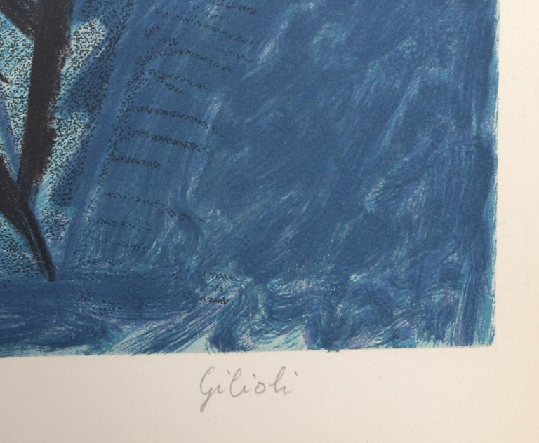 The Dove, Modern Lithograph by Emile Gilioli - Blue Animal Print by Émile Gilioli