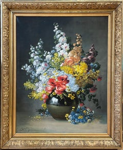 Very Large Original Antique French Flower Oil Painting Abundant Still Profusion