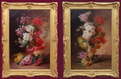 Big Paintings in pair - Flowers still-Life - 19th Century