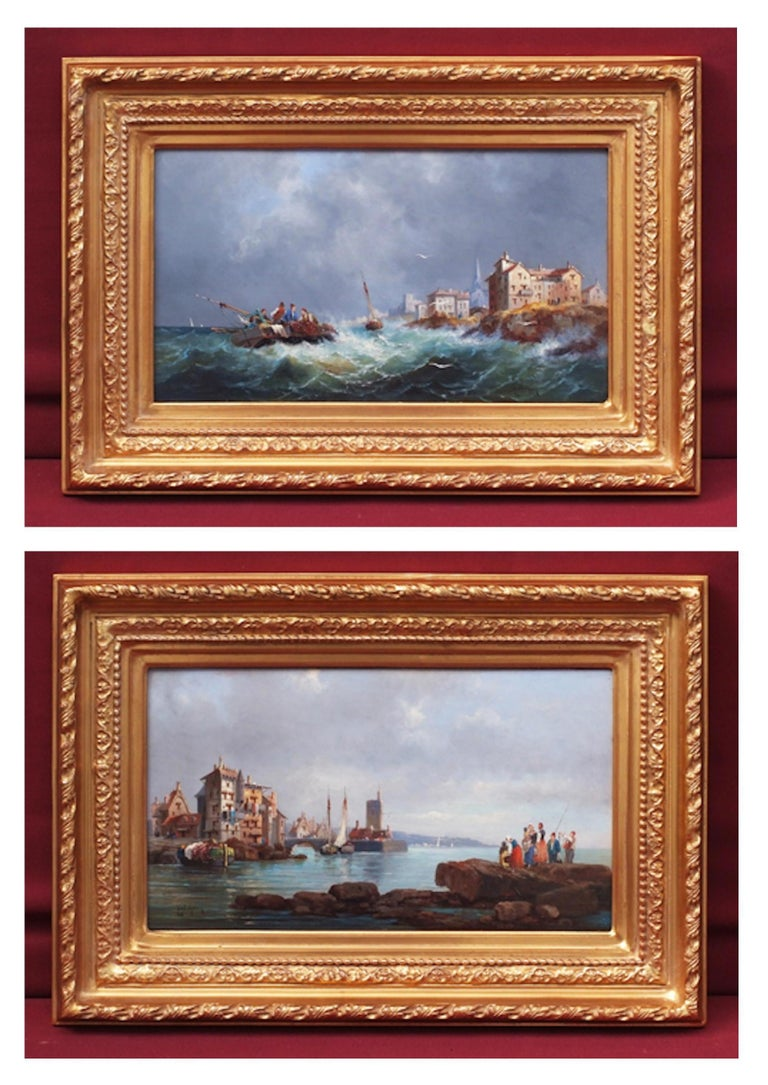 Emile Godchaux Landscape Painting - Marines in pair, Paintings 19th Century