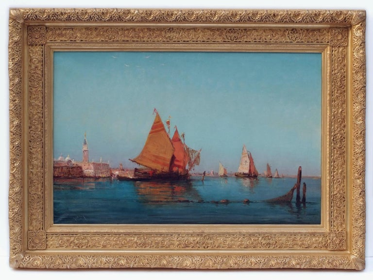 Emile GODCHAUX (1860) Orientalist Marines from Venice and Istambul  Two oils on canvas in pair signed low Frames gilded with leaves Dim canvas (each) : 61 X 93 cm Dim frame (each) : 88 X 120 cm  GODCHAUX Emile (1860-NC) French School - 19th century