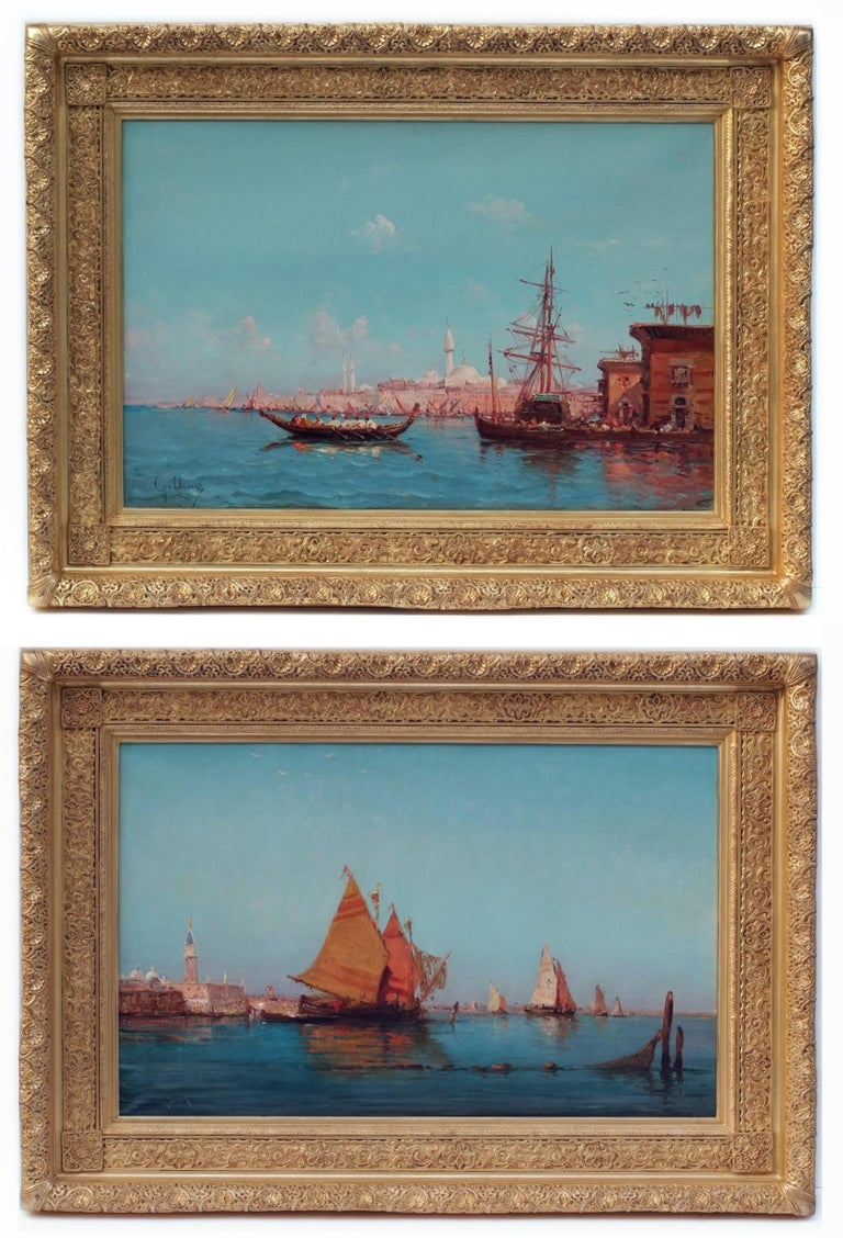 Emile Godchaux Landscape Painting - Paintings 19th Century - Orientalist Marines in pair